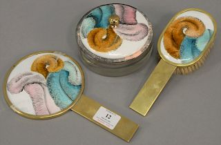 Three piece 10 karat gold plated and enameled dresser set