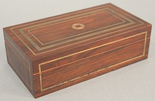 Rosewood veneered box with brass line inlay, having center 18k gold chase symbol, labeled: L.C. Marshall Cabinet Maker, Short Hills,...