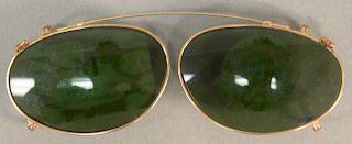 10 karat gold framed sunglass frames. length 4 1/4 inches.   Provenance: Estate of Peggy & David Rockefeller having stamp/label.