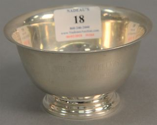 Tiffany & Co. sterling silver revere style bowl inscribed: The Rockefellers, September 7, 1940, Forbes 1917-1987, marked on bottom:...
