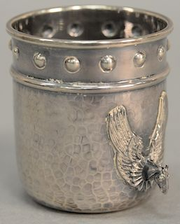Silver cup having hand hammered body with horse head handles, flanked by large wings. height 3 1/4 inches, 5.1 troy ounces   Provena...