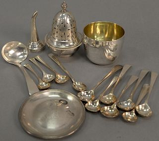 Group of miscellaneous silver items to include a George III silver wine spigot, caster top, silver salt spoons, small ladle, small c...