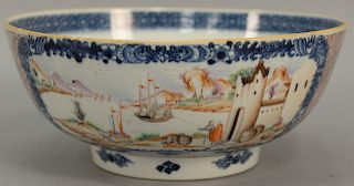 Chinese export porcelain bowl having painted panel on each side, one side with Chinese landscape on river's edge and the other paint...