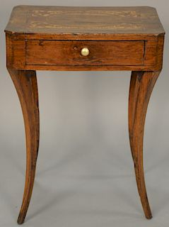 """Regency stand with marquetry inlaid top over drawer set on saber legs. height 29 inches, top: 24 1/2"""" x 36 1/2""""  Provenance: Est..."""