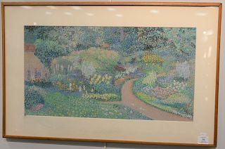 "Robert Stark (b. 1939), oil on pastel on paper, ""Mount Desert Garden"" August 1976, having original label hand written by Robert Star..."