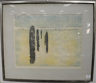 Glen Krause (1914-1981), woodblock, Tidal Reflections 1963, signed and dated lower right: Krause 63', titled and numbered lower righ...