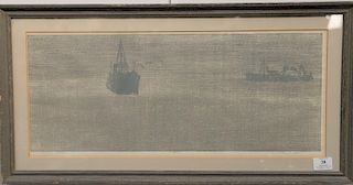 """Paul Shaub (1923), wood cut in two colors, """"Passage"""" numbered: 15/210, signed and dated lower right in pencil, having """"Collection of..."""