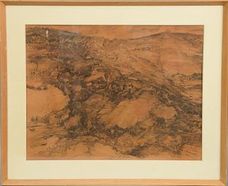 """Anna Ticho (1894-1980), pencil on paper, """"Jerusalem"""", mountain landscape, signed, titled, and dated lower right: A. Ticho, Jerusalem..."""