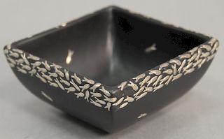 Emilia Castillo black glazed pottery bowl with silver fish marked on bottom: Emilia Castillo pure silver Mexico (few fish missing)....