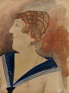 OTTO DIX, (German, 1891-1969), Portrait of Julia Feininger, watercolor and pencil