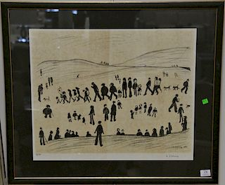 """Laurence Stephen Lowry (1887-1976), lithograph, """"Sunday Afternoon"""", pencil signed lower right: LS Lowry, numbered lower left: 14/75,..."""