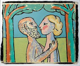 Signed Jack Hooper Painting - Amorous Couple