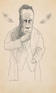 "David Levine (1926-2009) ""Camus"" Ink on Paper Portrait"