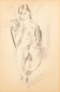 """Jules Pascin (1885-1930) """"Nude"""" Drawing"""