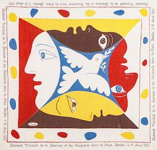 After Pablo Picasso (1881-1973) Festival pour la Paix Scarf, 1951