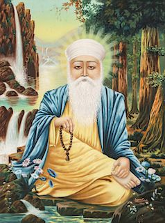 Portrait of the First Sikh Guru Nanak Ji, 1937
