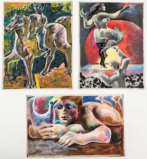Jack Gerber (American, b. 1927) 3 Mixed Media Works