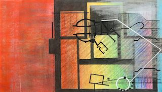 Steve Jaffe (1942-2009) Abstract Pastel Drawing