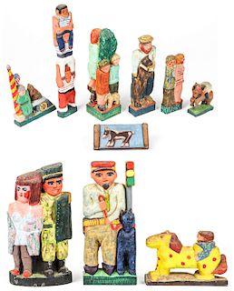 Fred Gerber (20th c.) 10 Carved Wood Sculptures