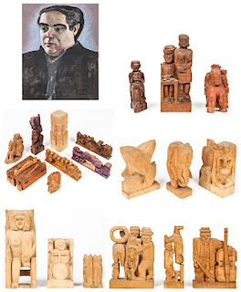 20 Fred Gerber Wood Sculptures and Portrait of the Artist by Jack Gerber