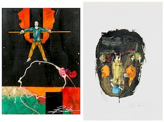 Michael Banks (b. 1972) Two Mixed Media Works Paintings