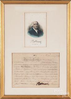 Robert Morris signed stock certificate
