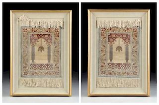 A PAIR OF DIMINUTIVE HIRAKEM SILK RUGS, EACH SIGNED AND FRAMED, LATE 20TH CENTURY,