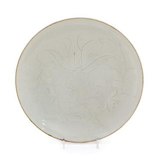 A Large Chinese Ding - Type White Glazed Porcelain Shallow Bowl Diameter 9 3/4 inches.