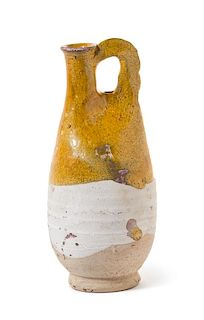 * A Chinese Amber Glazed Stoneware Flask Height 8 inches.