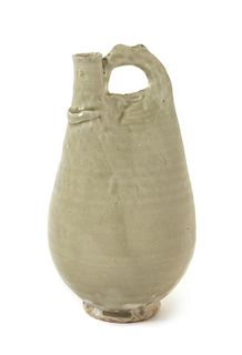 * A Chinese Light Celadon Glazed Stoneware Flask Height 9 inches.