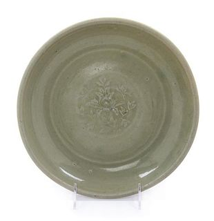 A Chinese Longquan Celadon Glazed Porcelain Plate Diameter 10 1/2 inches.