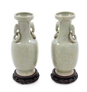 A Pair of Chinese Guan- Type Porcelain Vases Height overall 12 1/4 inches.