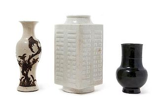 Three Chinese Monochrome Porcelain Vases Height of tallest 10 inches.