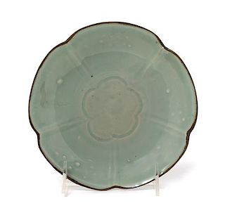 A Chinese Qingbai Glazed Porcelain Dish Diameter 7 inches.
