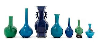 Seven Chinese Monochrome Glazed Porcelain Vases Height of the tallest 11 1/4 inches.