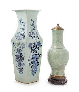Two Chinese Celadon Porcelain Vases Height of taller 24 3/4 inches.