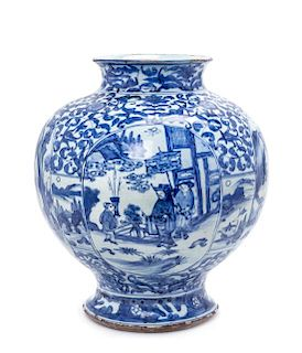 A Rare Chinese Delft-Style Blue and White Porcelain Jar Height 14 1/4 inches.