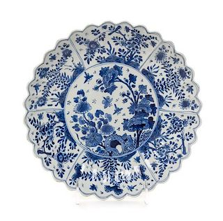A Chinese Export Blue and White Porcelain Chrysanthemum-Form Dish Diameter 9 1/2 inches.