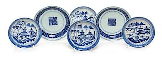 Six Chinese Export Blue and White Porcelain Plates Diameter of largest 6 inches.