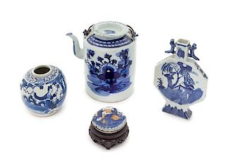 * Four Chinese Blue and White Porcelain Articles Height of tallest 8 1/4 inches.