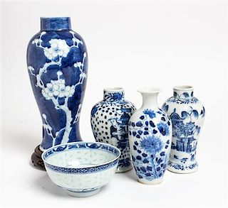 * Five Chinese Blue and White Porcelain Articles Height of tallest 9 inches.