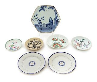Seven Chinese Export Porcelain Plates Largest diameter 8 inches.