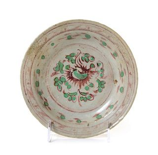 * A Chinese Red and Green Stoneware Dish Diameter 7 1/2 inches.