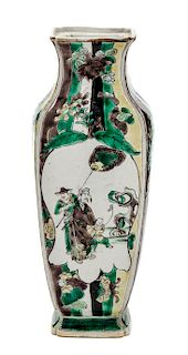 A Chinese Famille Verte Porcelain Vase Height 8 1/2 inches.