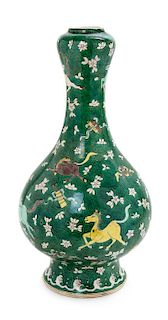 A Large Chinese Famille Verte Porcelain Bottle Vase Height 17 1/2 inches.