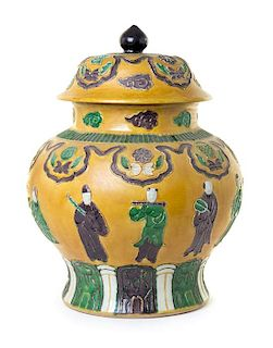 A Large Chinese Sancai Glazed Porcelain Covered Jar Height 17 1/4 inches.