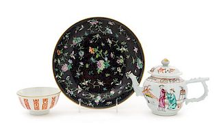 Three Chinese Porcelain Articles Largest diameter 9 1/2 inches.