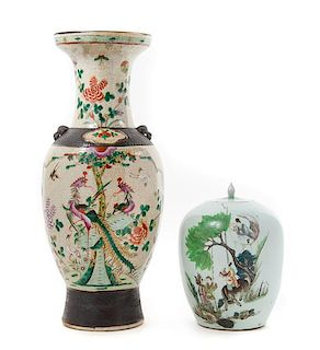 Two Chinese Famille Rose Porcelain Articles Height of taller 23 1/2 inches.
