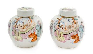 A Pair of Chinese Famille Rose Porcelain Ginger Jars Height of each 5 1/4 inches.