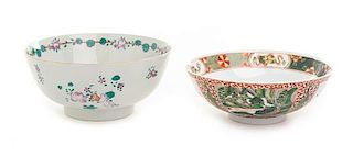 Two Chinese Famille Rose Porcelain Bowls Diameter of larger 7 3/4 inches.